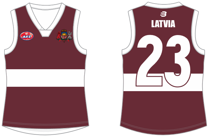 Latvia footy jumper AFL
