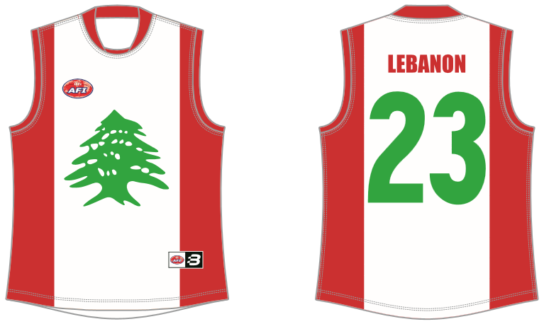 Lebanon footy jumper AFL