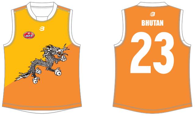 Bhutan footy jumper AFL
