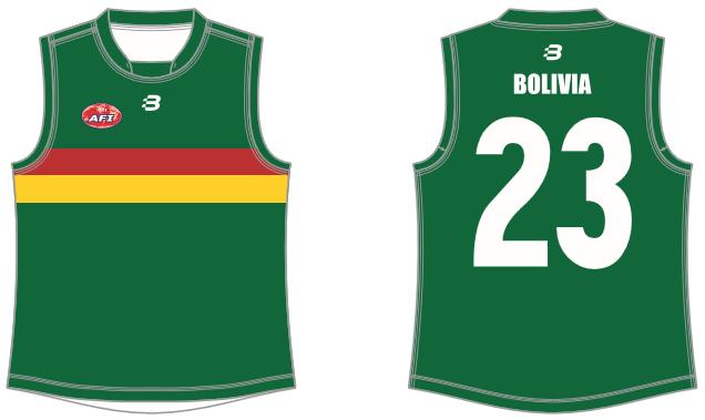Bolivia footy jumper AFL